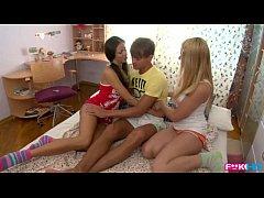 Russian Coeds intense dorm room threesome