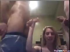 2 blonde college girls blow their BF cocks