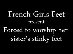 Forced to Worship her sister's stinky feet