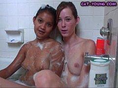 Lesbians Lick Tits In Tub