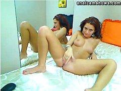 Amateur masturbating in front of mirror