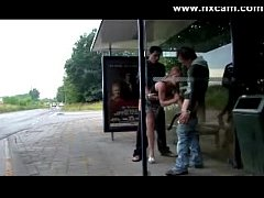 Girl Fucked At Bus Stop By 2 Guys