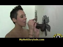 Horny Lady Enjoys Gloryhole Cocksucking Interracial 4