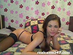 Brunette teen on webcam masturbating