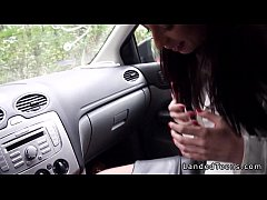Female doctor gives blowjob in the car pov