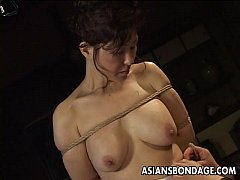 Mature bitch gets roped up and hung in a bdsm s...