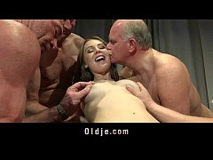 Young nurse gangbanged by five old doctors at a...