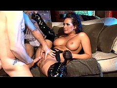 Busty milf fucking in thigh high boots and gloves