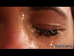 Foxy model gets sperm load on her face sucking ...