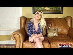 Busty teen blonde masturbates on casting couch