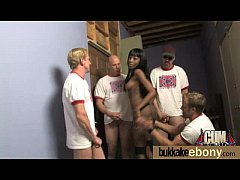 Ebony gets fucked in all holes by a group of wh...