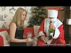 Oksana's tight ass hole fucked by Santa