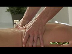 Brunette gets fucked by two masseurs