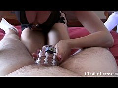 Locked in chastity for jerking off too much