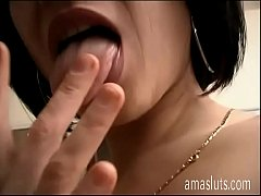 Very hot brunette jerks off in front of a camera