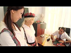 Perverted Professor scores with 2 gorgeous Nymp...