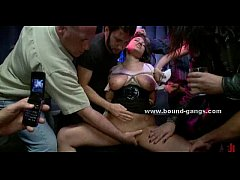Busty blonde in club undressed tied and forced ...