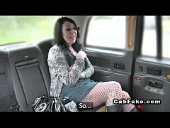 Pierced woman fucks in fake taxi in public car ...