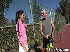 Young whore fucks tennis coach