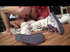 18yo petite teen sucking and fucking on a fat long cock