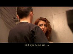 Redhead babe tiedup in the shower and fucked