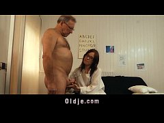 Young doctor fucking and sucking old patient co...