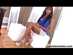 Stunning ebony babe pov blowjob