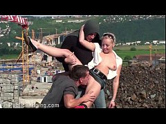 Young cute blonde girl PUBLIC threesome with 2 ...