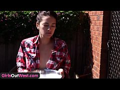 Girls Out West - Aussie brunette fingers her sq...
