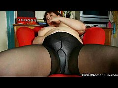 Mommy finger fucks her pantyhosed pussy