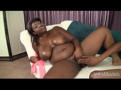 Ebony plumper Sarah James rides on a black dick