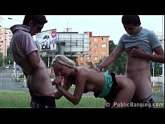 A blonde young teen girl fucked by 2 teen guys ...