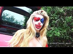 Clown teen sucks cock outdoor pov