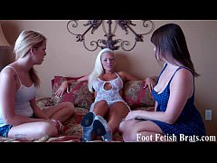 Bella and Leyla worshiping a stripper's feet