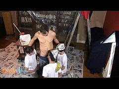 Three painting boys take a break to suck old cock