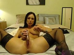 Brunette Milf Stripping and Teasing on Live Cam...