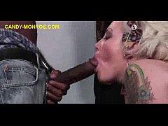 Tatttoed Blonde Sucks And Rides BBC