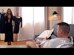 Dominica Phoenix gives a hot footjob in red sto...