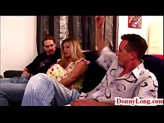Donny Long tag teams huge tit milf and gives sn...