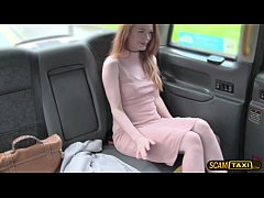 Pretty Euro Ella bangs inside the taxi by the t...