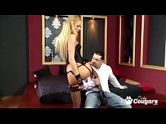 Blonde gives a lap dance then jumps on some dick
