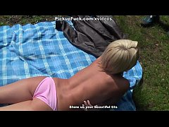 Titted Blonde fuck on the lawn