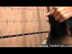 Twink video Miles gets chained to the wall and meets the business end