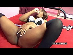 Black hottie Solah LaFlare stuffs her twat with...