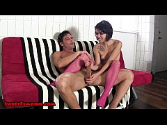 Edged and Milked by Bailey in Fishnets
