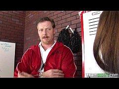 stunning brunette teen gets facialized in the lockerroom