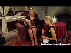 Blonde Maid Cleaning Mistresses Feet And Kissin...