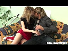 pretty blonde stepdaughter fucks stepdad in the couch