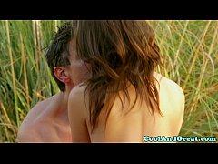 Romantic couple enjoy outdoor love