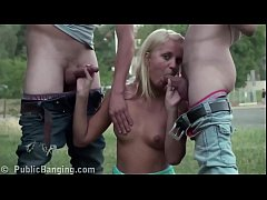 Daring public street sex threesome with a hot blonde teen girl and 2 young guys